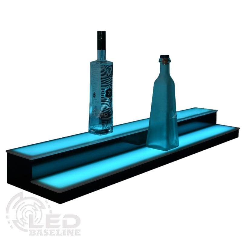 2 Tier Low Profile Led Display Shelf on liquor bottle shelves for bars