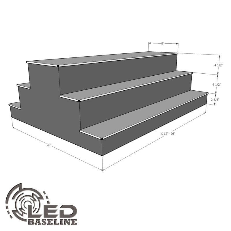 3 Tier 2 Sided Island LED Display Shelf