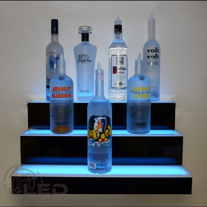 3 Step LED Display Shelf | Lighted Bar Shelves | Home Bar Shelf