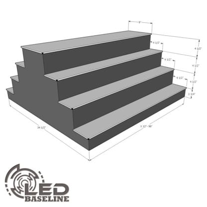 4 Tier 2 Sided Island LED Display Shelf