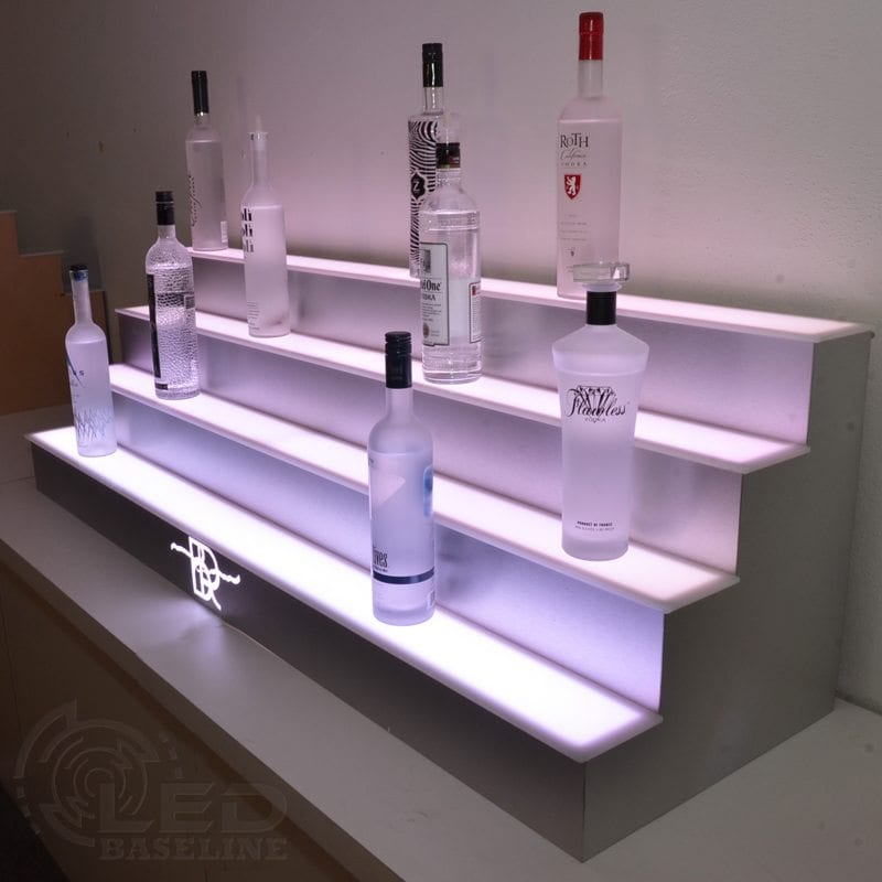 Lighted Bottle Display Home Bar Shelf 4 Tier LED Display Shelf 11