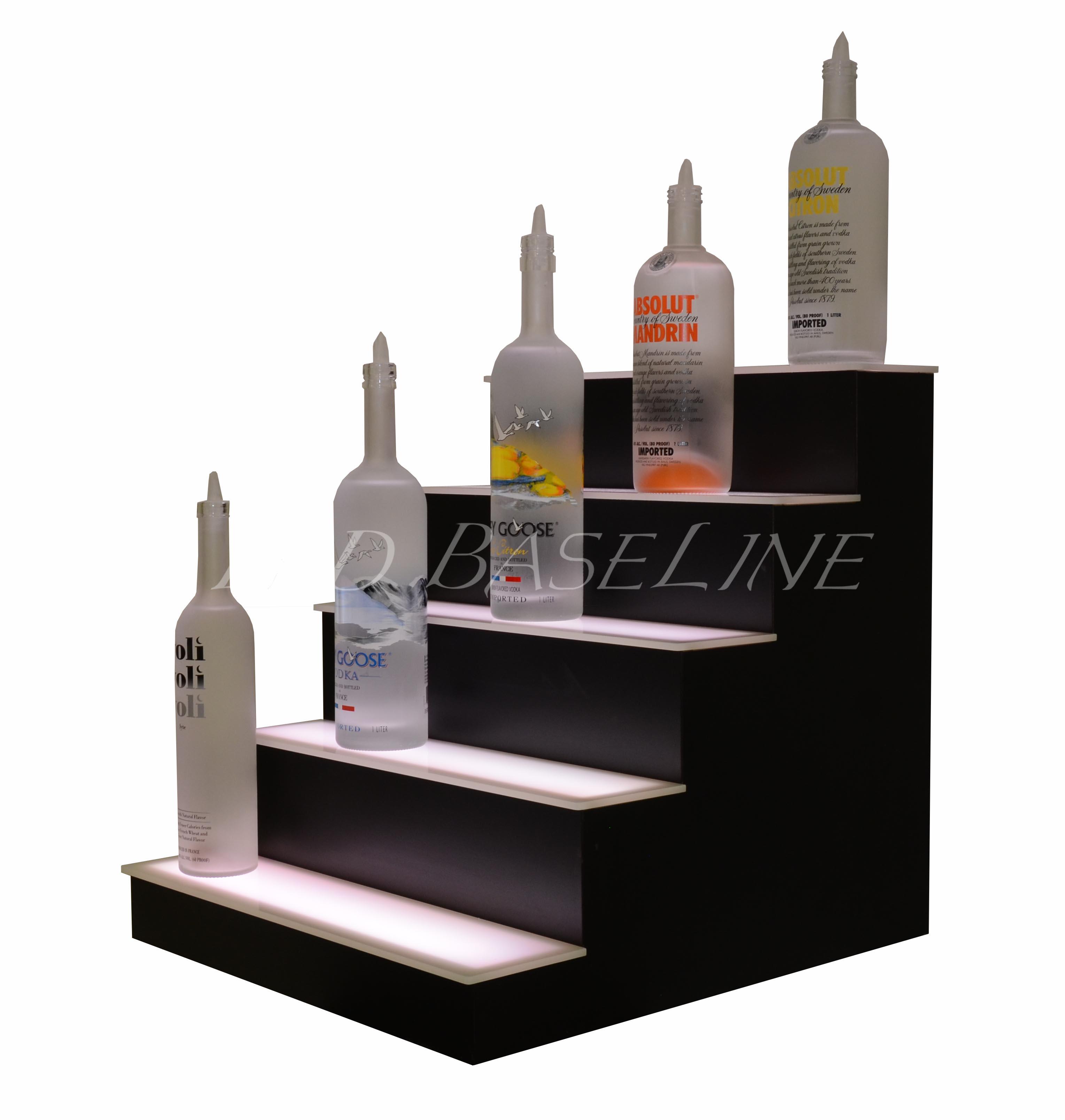 80 1 Tier LED Lighted Liquor Display Shelf Stainless Steel Finish