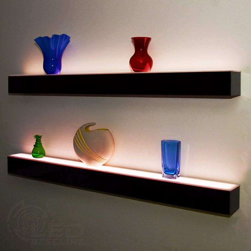 1 tier led floating shelf led lighted floating bar shelves wall mount. Black Bedroom Furniture Sets. Home Design Ideas