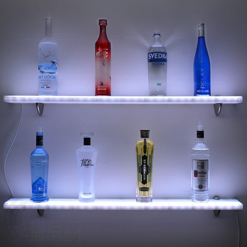 Acrylic LED Floating Shelf Home Bar Shelves W LED Lighting