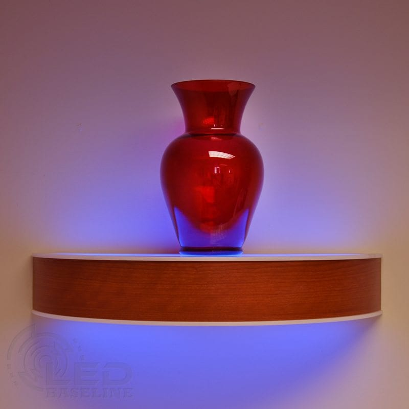 Curved Led Floating Shelf on liquor bottle shelves for bars